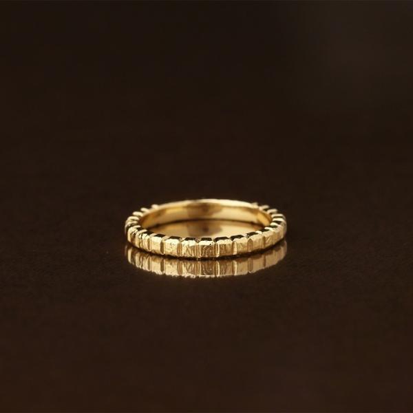 K18 ゴールド リング ブロックデザイン(L)  メンズ レディース シンプル 指輪 18k 18金