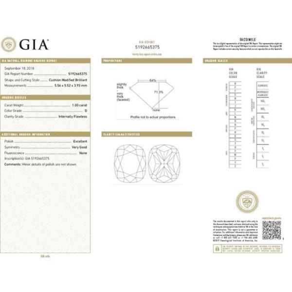 1カラットクッションカットダイヤモンドDカラーIF GIA鑑定書つき 透明感のある優しい輝きさん|diadia|11