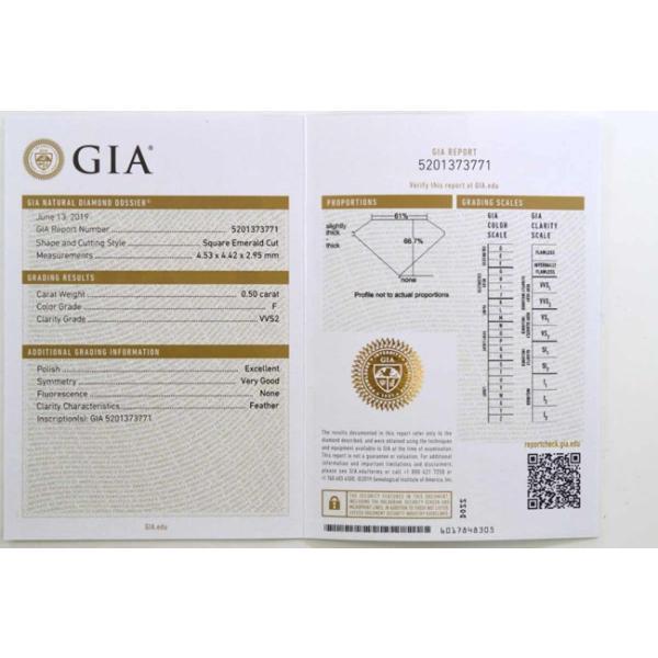アッシャーカット ダイヤモンド Fカラー 0.5カラット VVS2 透明度高い証明写真つき ダイヤGIA鑑定書 刻印つき|diadia|09