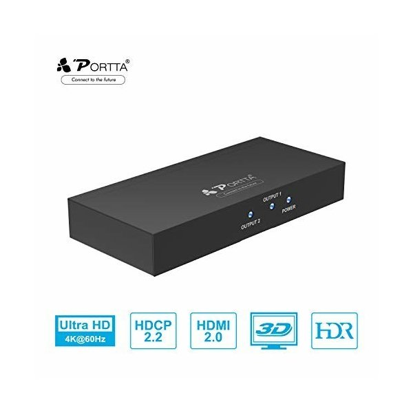 PorttaHDMI分配器1入力2出力スプリッター4Kx2K/3D/HDCP対応DVDPCPS4HDTVプロジェクターなど対応高