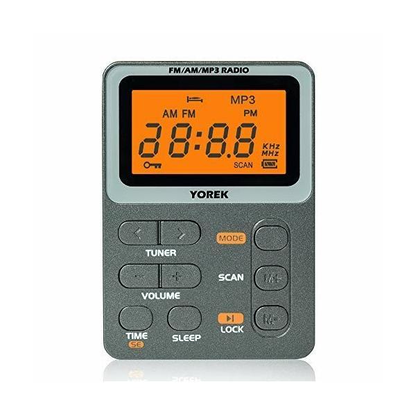 YOREKAM/FM/MP3充電式小型通勤ラジオワイドFM対応スリープ機能付きポケットラジオ(イヤホン付き,1年間保証付き
