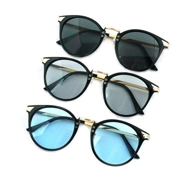 サングラス メンズ ブランド ブルー ブラック グレー レンズ 大きい おしゃれ UVカット 紫外線カット 7JEWELRY ボストン サングラス|diamonddust|02
