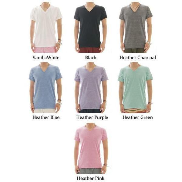 Tシャツメンズ半袖カットソーメンズヘザーカラーシンプルVネックTシャツ CA-UA1098|diana|02