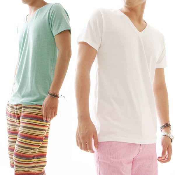 Tシャツメンズ半袖カットソーメンズヘザーカラーシンプルVネックTシャツ CA-UA1098|diana|04