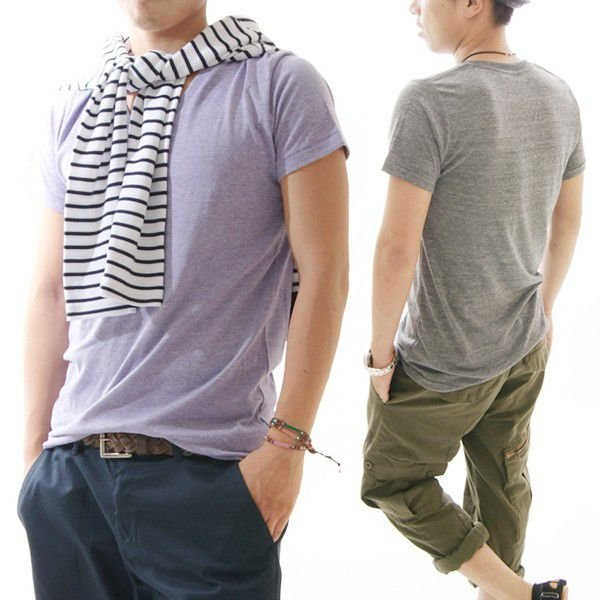 Tシャツメンズ半袖カットソーメンズヘザーカラーシンプルVネックTシャツ CA-UA1098|diana|05