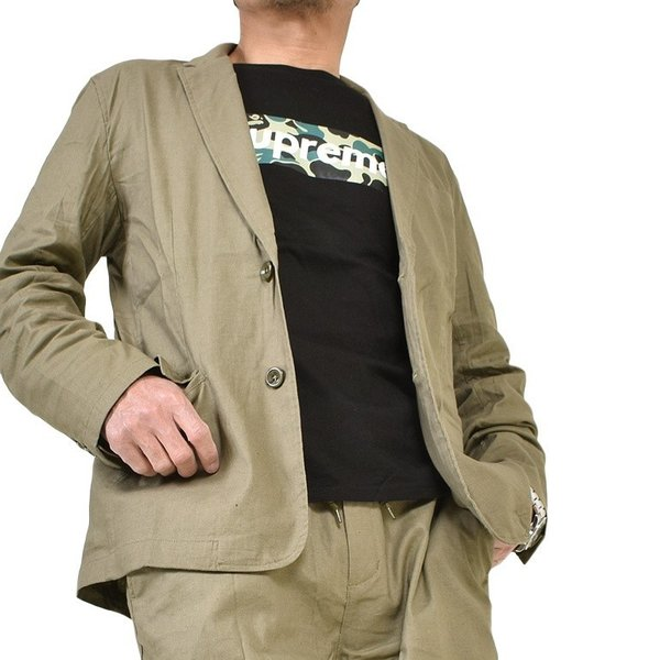 テーラードジャケット メンズ ジャケット 綿麻 ストレッチ アウター おしゃれ 無地 長袖 テーラード 春 2019 IR-393005H|diana|09