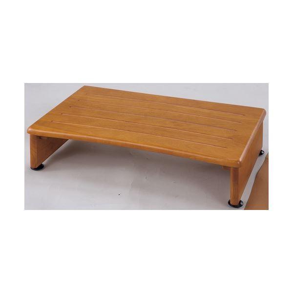 収納付き 玄関台/踏み台 〔幅60cm〕 木製 アジャスター付き 木目調 〔完成品〕〔代引不可〕