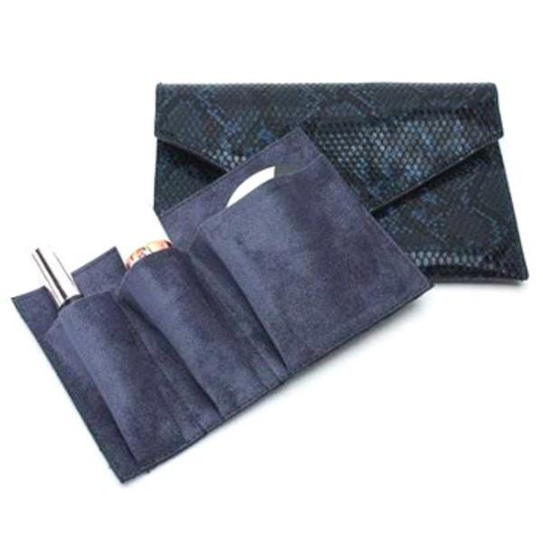 整理できるポケット付仕切りが付いたスネーククラッチバッグ/ダークブルー