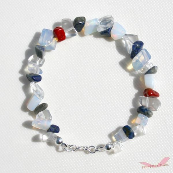 ラピスラズリ ホワイトオパール 水晶 天然石ブレスレット Silver925 一点物|different