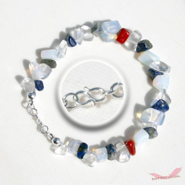 ラピスラズリ ホワイトオパール 水晶 天然石ブレスレット Silver925 一点物|different|02