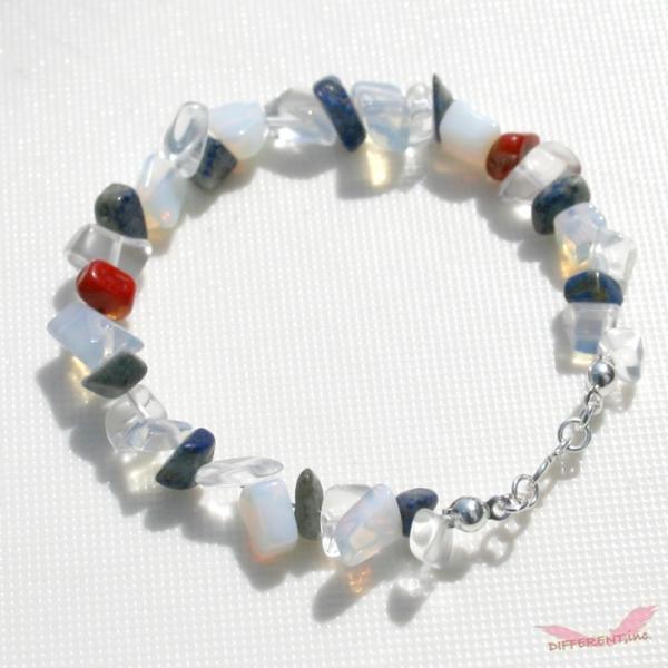 ラピスラズリ ホワイトオパール 水晶 天然石ブレスレット Silver925 一点物|different|03