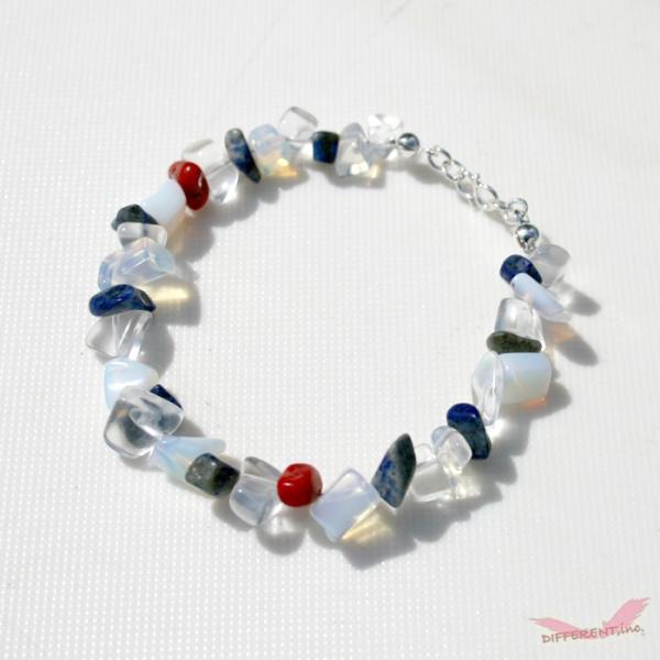 ラピスラズリ ホワイトオパール 水晶 天然石ブレスレット Silver925 一点物|different|04