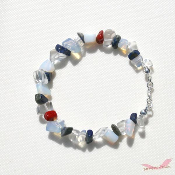 ラピスラズリ ホワイトオパール 水晶 天然石ブレスレット Silver925 一点物|different|05