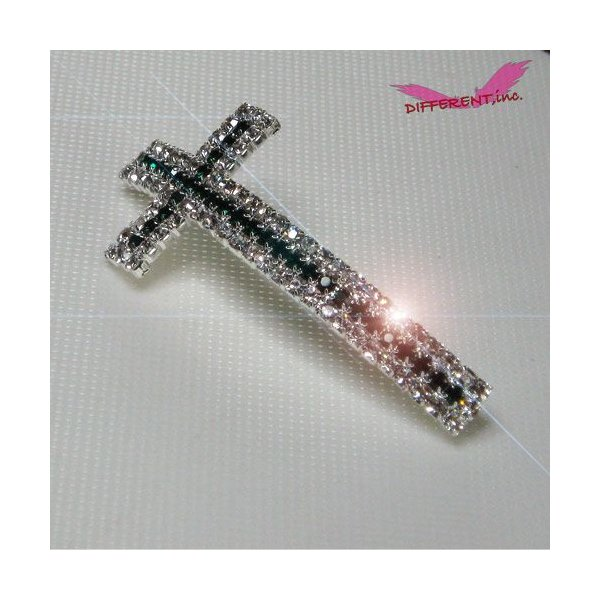 Cross Beads Emerald Green&Crystal Silver