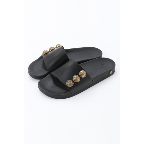 バルマン BALMAIN サンダル シャワーサンダル 靴 メンズ VN1C633L GDT ブラック 2021年春夏新作