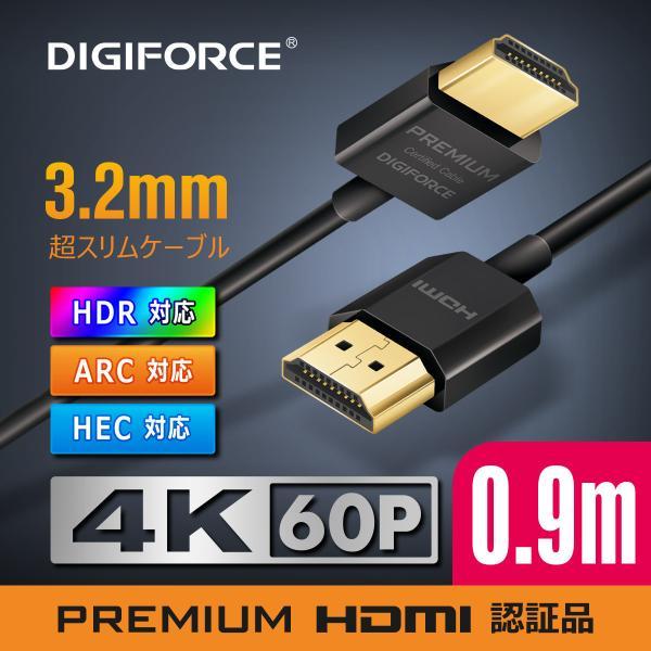 HDMIケーブル超スリムタイプ4K対応プレミアムPREMIUMHDMI認証取得4K/60P18GbpsHDRARCHEC対応0.