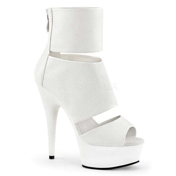 取寄せ靴 新品 ピープトゥ アンクルカバー バックジッパー付き 厚底 ブーティー サンダル 15cmピンヒール 白ホワイトつや消し