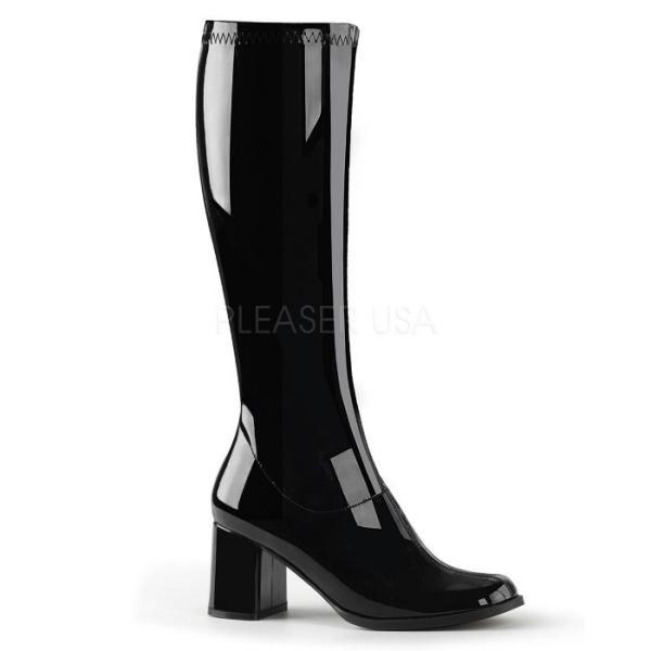 薄厚底ロングブーツ 黒 ブラック エナメル ハイヒール厚底靴のディンプルズ
