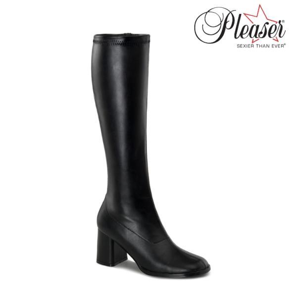 薄厚底ロングブーツ 黒 ブラック つや消し ハイヒール厚底靴のディンプルズ