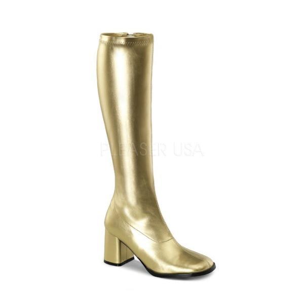 薄厚底ロングブーツ 金 ゴールド つや消し ハイヒール厚底靴のディンプルズ