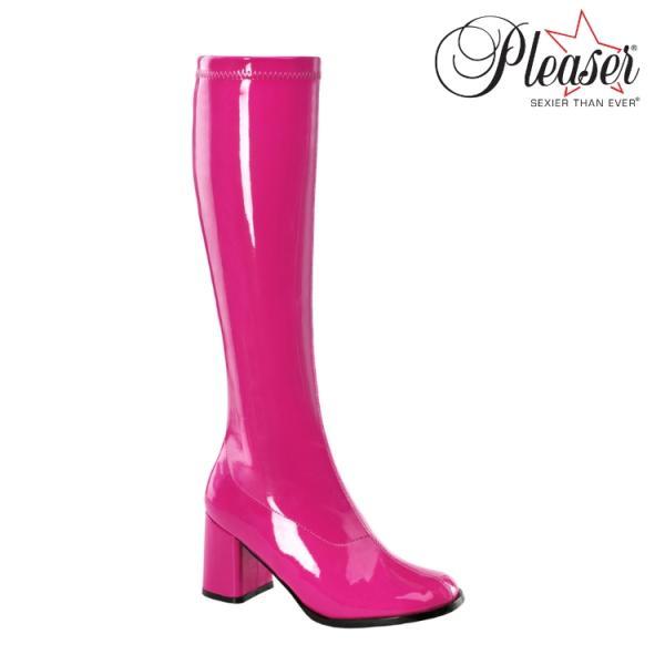薄厚底ロングブーツ ホットピンク エナメル ハイヒール厚底靴のディンプルズ