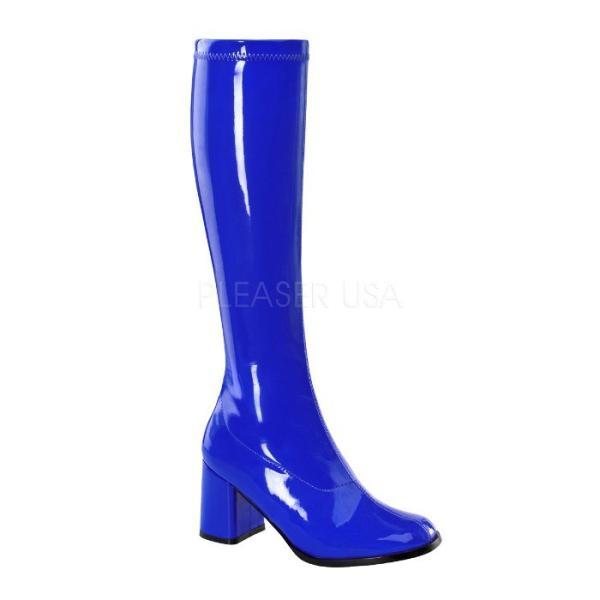 薄厚底ロングブーツ ネイビー 青 ブルー エナメル ハイヒール厚底靴のディンプルズ