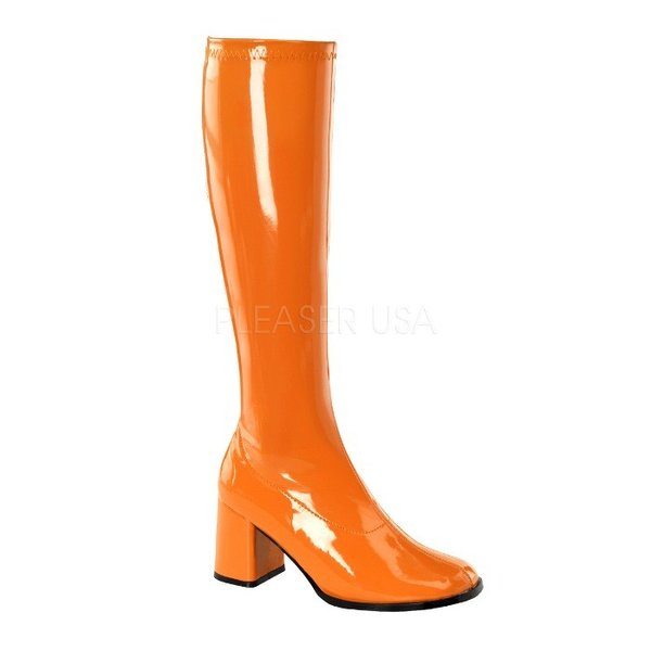 薄厚底ロングブーツ オレンジ エナメル ハイヒール厚底靴のディンプルズ