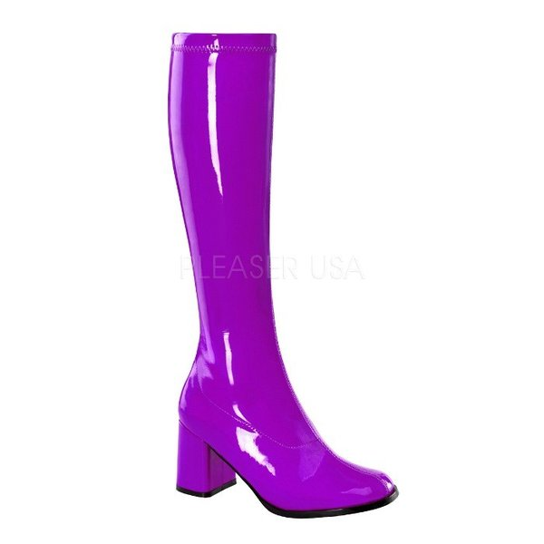 薄厚底ロングブーツ 紫 パープル エナメル ハイヒール厚底靴のディンプルズ