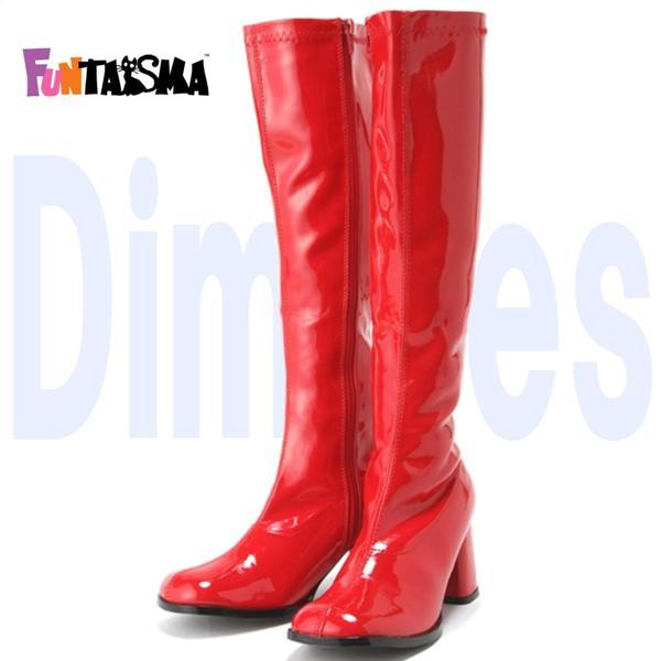 薄厚底ロングブーツ 赤 レッド エナメル ハイヒール厚底靴のディンプルズ