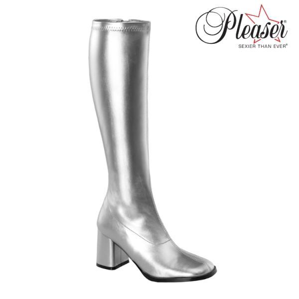 薄厚底ロングブーツ 銀 シルバー つや消し ハイヒール厚底靴のディンプルズ