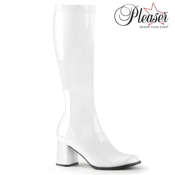 薄厚底ロングブーツ 白 ホワイト エナメル ハイヒール厚底靴のディンプルズ