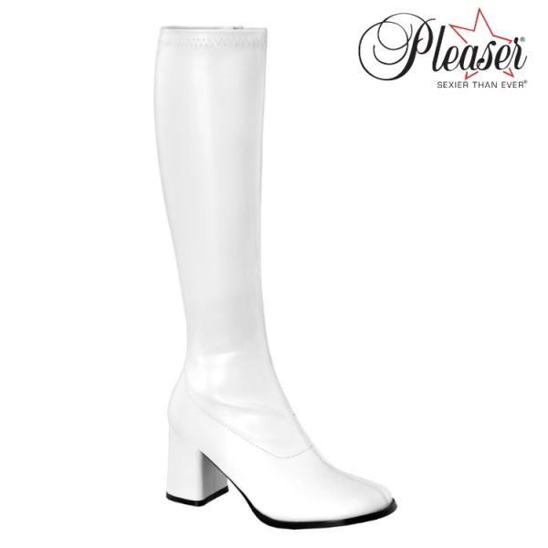 薄厚底ロングブーツ 白 ホワイト つや消し ハイヒール厚底靴のディンプルズ