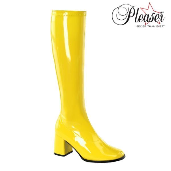 薄厚底ロングブーツ 黄色 イエロー エナメル ハイヒール厚底靴のディンプルズ