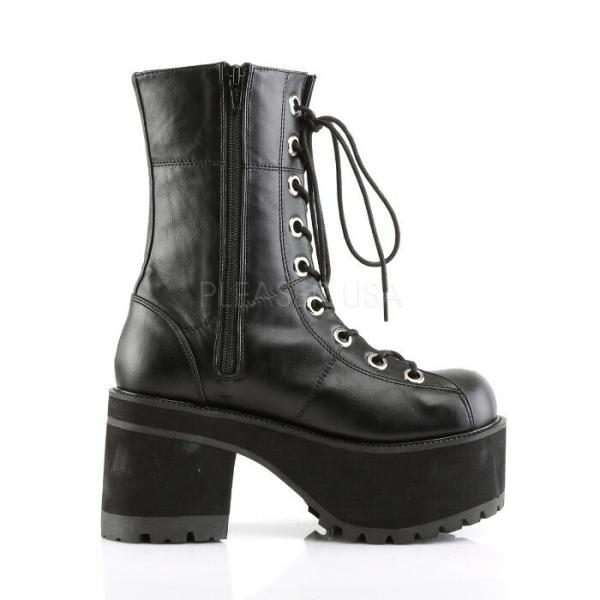 厚底ショートブーツ 黒 ブラック つや消し Pleaser プリーザー