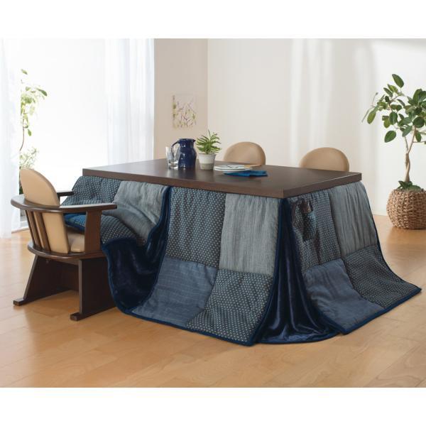 【長方形・中】225×265cm はっ水しじら織りパッチワーク ハイタイプこたつ掛け布団 710211