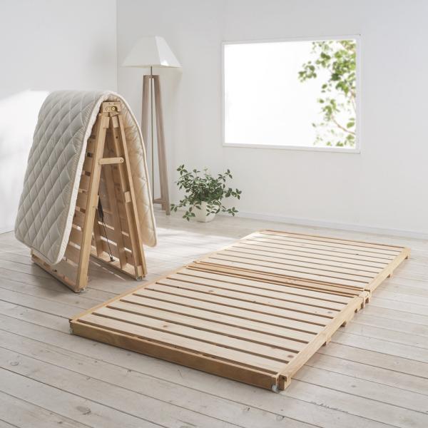 ディノス『ぴったり並べられる折りたたみ ひのきすのこベッド(900-7590-07)』