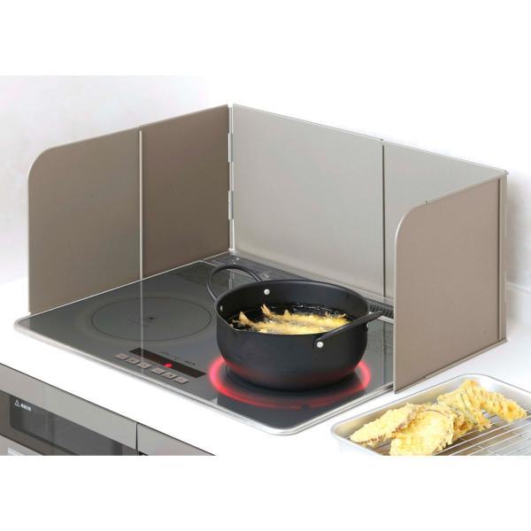 キッチン家電キッチン用品キッチングッズ調理台上シンクまわり小物手前と左右が伸縮するシステムキッチン用レンジガードグレーWX069