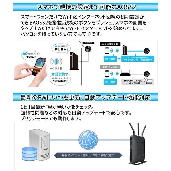 無線LANルーター 無線ルーター ルーター バッファロー WXR-1750DHP2 無線LAN親機 11ac/n/a/g/b ワイヤレス AOSS2 WiFiルーター 保証あり 訳あり|discount-spirits2|05