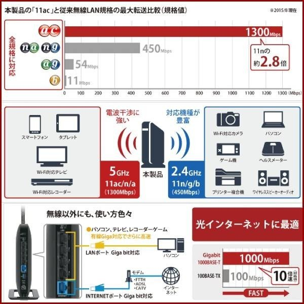 無線LANルーター 無線ルーター バッファロー WXR-1750DHP 無線LAN親機 11ac/n/a/g/b ワイヤレス AOSS2 WiFiルーター 保証あり 訳あり|discount-spirits2|05