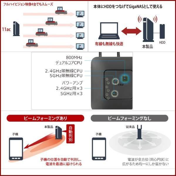 無線LANルーター 無線ルーター バッファロー WXR-1750DHP 無線LAN親機 11ac/n/a/g/b ワイヤレス AOSS2 WiFiルーター 保証あり 訳あり|discount-spirits2|06