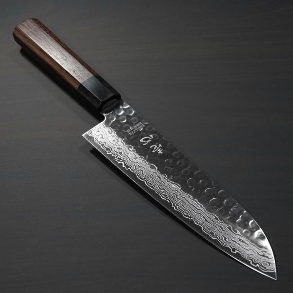包丁 和三徳 180mm 45層ダマスカス V金10号 ステンレス 槌目模様 6寸 朴木柄 ミルフィーユ 一心刃物 関市 日本製 鮮烈な切れ味永続き|discovery-shop