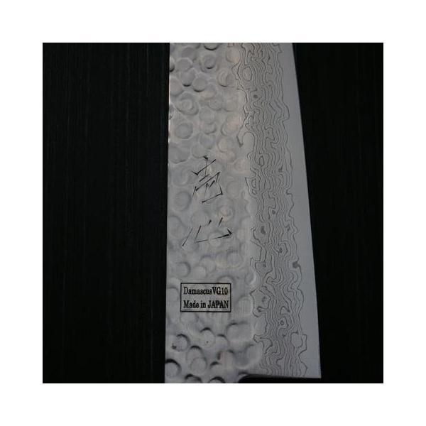 包丁 和三徳 180mm 45層ダマスカス V金10号 ステンレス 槌目模様 6寸 朴木柄 ミルフィーユ 一心刃物 関市 日本製 鮮烈な切れ味永続き|discovery-shop|05