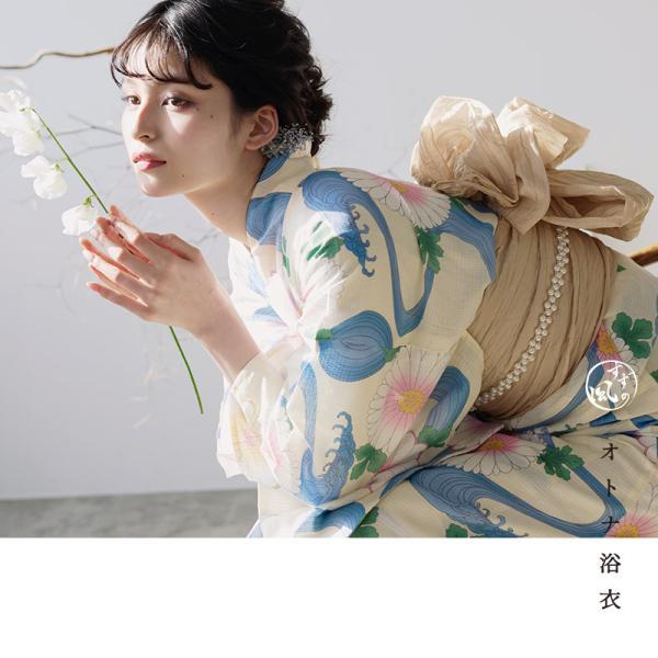 浴衣 新作 2018 京都本格 女性浴衣4点フルセット(ゆかた 作り帯 下駄 着付マニュアル本) 初心者もOK 一人で簡単に着られるつくり帯|dita|12
