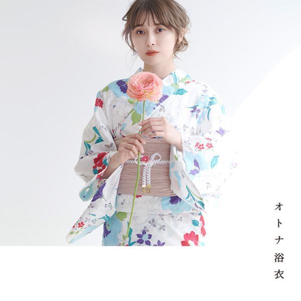浴衣 新作 2018 京都本格 女性浴衣4点フルセット(ゆかた 作り帯 下駄 着付マニュアル本) 初心者もOK 一人で簡単に着られるつくり帯|dita|04