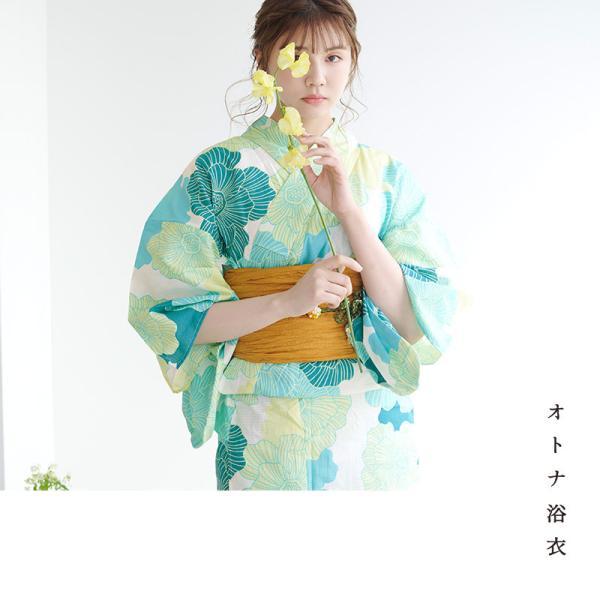 浴衣 新作 2018 京都本格 女性浴衣4点フルセット(ゆかた 作り帯 下駄 着付マニュアル本) 初心者もOK 一人で簡単に着られるつくり帯|dita|05