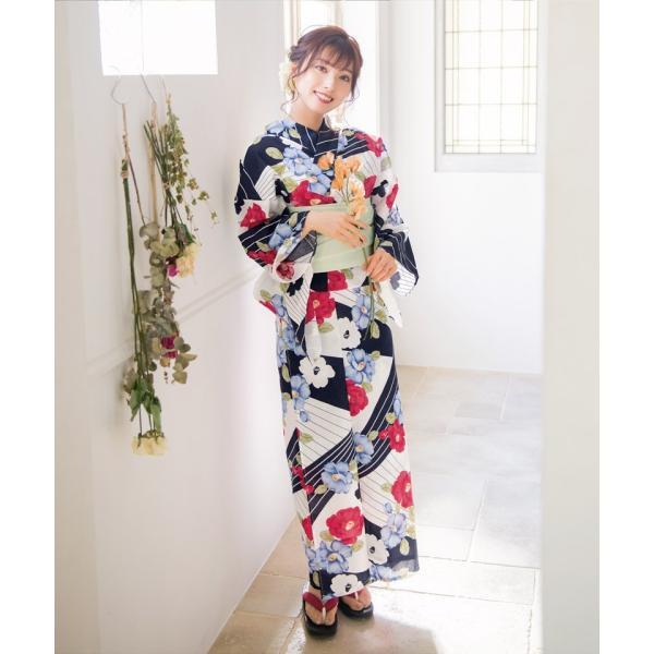 浴衣 レディース セット 2018 高級 女性浴衣4点フルセット(ゆかた 作り帯 下駄 着付マニュアル本)|dita|06
