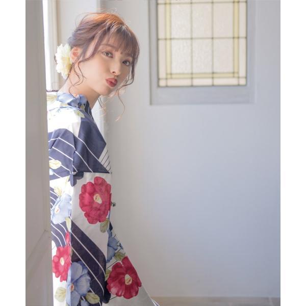 浴衣 レディース セット 2018 高級 女性浴衣4点フルセット(ゆかた 作り帯 下駄 着付マニュアル本)|dita|08