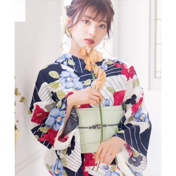 浴衣 レディース セット 2018 高級 女性浴衣4点フルセット(ゆかた 作り帯 下駄 着付マニュアル本)|dita|09