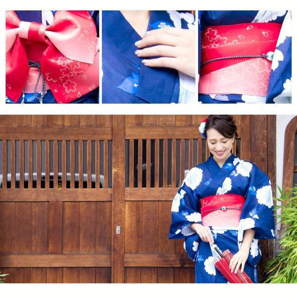 新作 浴衣 2018 レディース 京都本格 女性浴衣4点フルセット(ゆかた 平帯 下駄 着付マニュアル本) 初心者もOK 一人で簡単に着られる作り帯|dita|16