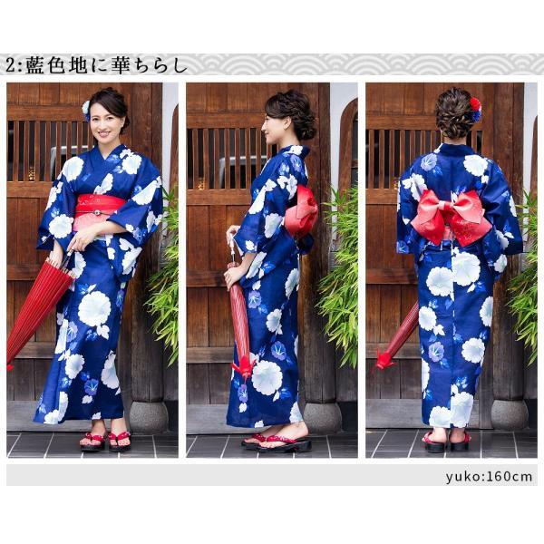 新作 浴衣 2018 レディース 京都本格 女性浴衣4点フルセット(ゆかた 平帯 下駄 着付マニュアル本) 初心者もOK 一人で簡単に着られる作り帯|dita|19